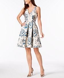 XSCAPE Brocade Fit & Flare Dress