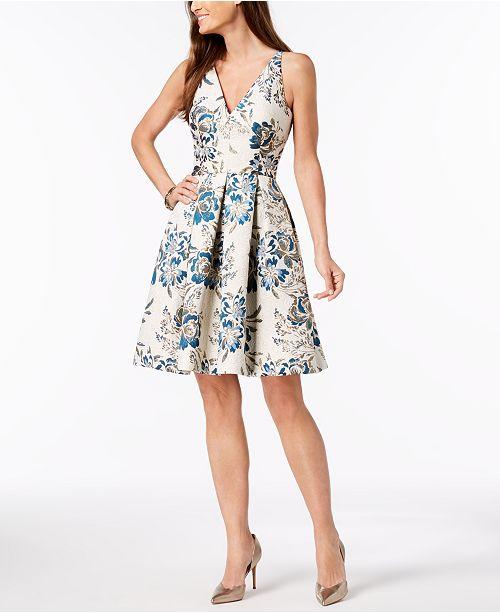 XSCAPE Brocade Fit & Flare Dress