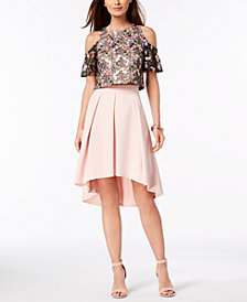 Julia Jordan 2-Pc. Embroidered High-Low Dress