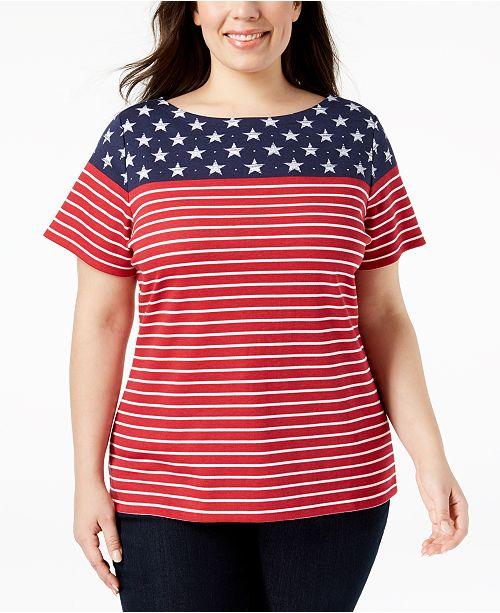 Karen Scott Plus Size American Flag T-Shirt, Created for Macy\'s ...