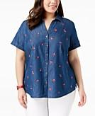 Karen Scott Plus Size Cotton Denim Embroidered Shirt Created for Macys