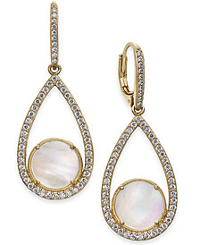 Danori Mother-of-Pearl & Pavé Teardrop Drop Earrings, Created for Macy's