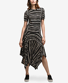 DKNY Striped Asymmetrical Midi Dress, Created for Macy's