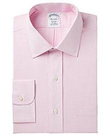 Brooks Brothers Men's Milano Extra-Slim Fit Non-Iron Pink Gingham Dress Shirt