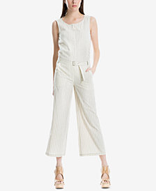 Max Studio London Striped Cotton Topstitch Jumpsuit, Created for Macy's