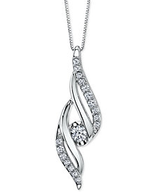 "Sirena Diamond Twist 18"" Pendant Necklace (1/4 ct. t.w.) in 14k White Gold"