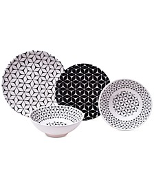 Strata Black 12-Pc. Melamine Dinnerware Set