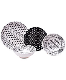 222 Fifth Strata Black 12-Pc. Melamine Dinnerware Set
