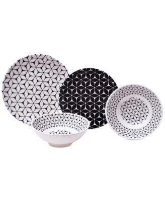 222 Fifth Strata Black 12-Pc. Melamine Dinnerware Set  sc 1 st  Macyu0027s & 222 Fifth Strata Black 12-Pc. Melamine Dinnerware Set - Dinnerware ...