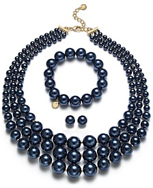 Navy & Gold-Tone Imitation Pearl Jewelry Separates, Created for Macy's