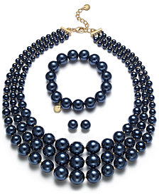 Charter Club Navy & Gold-Tone Imitation Pearl Jewelry Separates, Created for Macy's