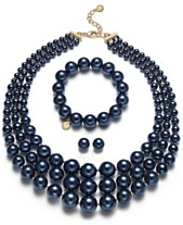 8213947d4 Charter Club Navy   Gold-Tone Imitation Pearl Jewelry Separates
