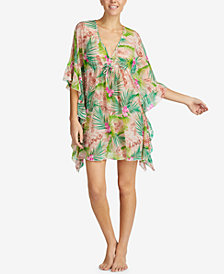 Betsey Johnson Striped Chiffon Ruffle-Cuff Caftan