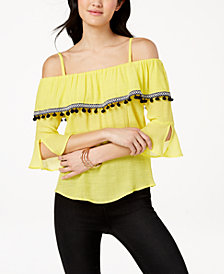 BCX Juniors' Off-The-Shoulder Pom Pom Top
