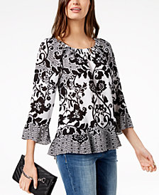 I.N.C. Petite Printed Ruffle-Hem Peasant Top, Created for Macy's