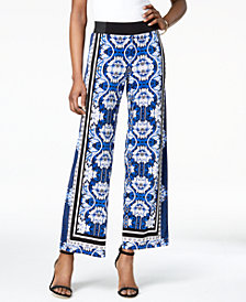 I.N.C. Petite Printed Wide-Leg Soft Pants, Created for Macy's