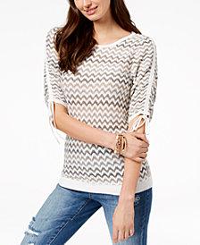 I.N.C. Chevron-Print Drawstring-Sleeve Sweater, Created for Macy's