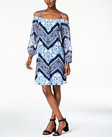 I.N.C. Petite Printed Off-The-Shoulder Dress, Created for Macy's