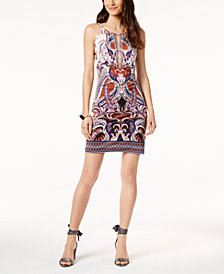 I.N.C. Petite Printed Embellished Keyhole Dress, Created for Macy's
