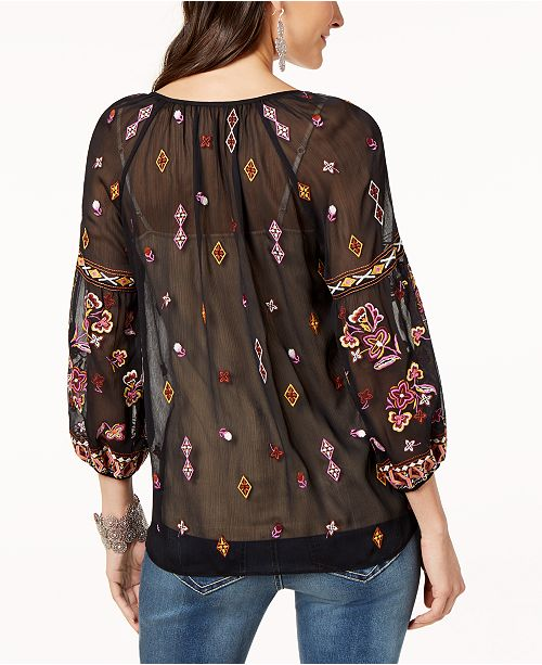 Abstract Stag Embroidered C INC N Concepts I Top Peasant for International Created Macy's qH7XP7Iw