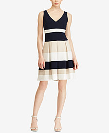 Lauren Ralph Lauren Petite Colorblocked Fit & Flare Dress