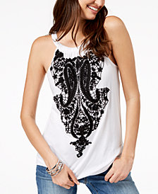 I.N.C. Beaded Crochet-Appliqué Top, Created for Macy's
