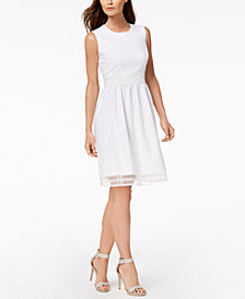 Calvin Klein Petite Lace-Trim Fit & Flare Dress