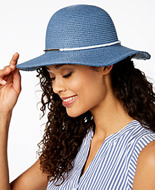 I.N.C. Contrast-Band Floppy Hat, Created for Macy's