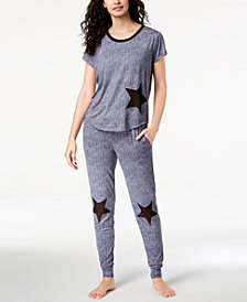 Ande Lush Luxe Mesh-Star Pajama Top & Jogger Pants