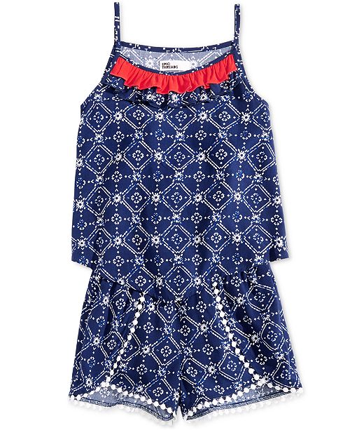 Epic Threads Little Girls Ruffle-Trim Tank Top & Pom Pom-Trim Shorts, Created for Macy's