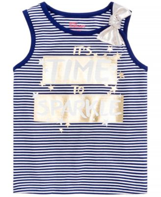 Little Girls Striped Graphic-Print Tank Top, Created for Macy's