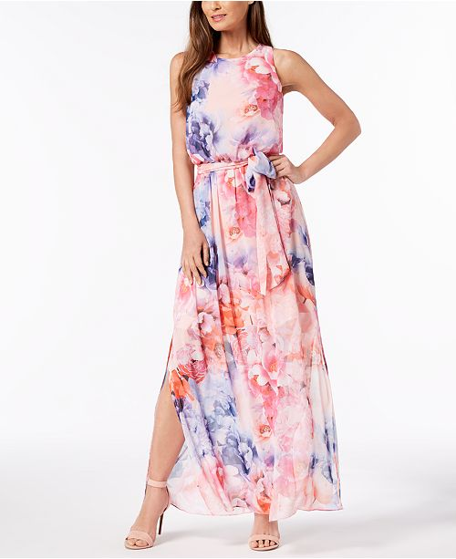 faa29af5bbc83 Jessica Howard Belted Floral-Print Maxi Dress & Reviews - Dresses ...