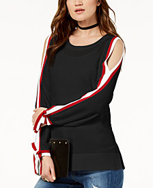 I.N.C. Striped-Sleeve Cold-Shoulder Top, Created for Macy's