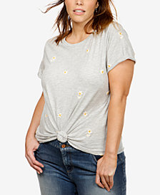 Lucky Brand Trendy Plus Size Embroidered T-Shirt