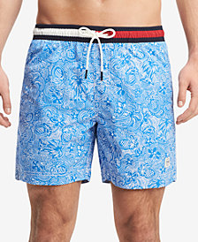 "Tommy Hilfiger Men's Logo Stretch 6.5"" Swim Trunks, Created for Macy's"