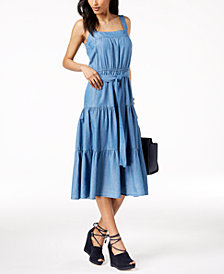 MICHAEL Michael Kors Cotton Tiered Dress, Created for Macy's
