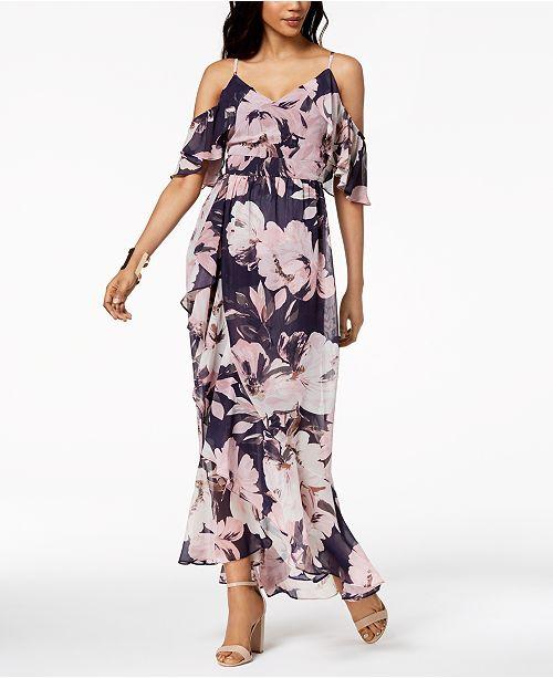 e24e17e2f9 ... Vince Camuto Floral Printed Cold-Shoulder Chiffon Maxi Dress ...
