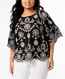 John Paul Richard Plus Size Cotton Eyelet Top