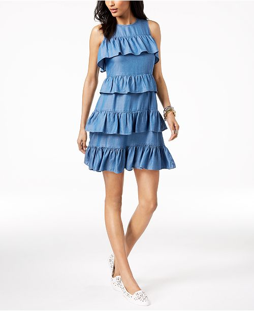 83b73e60e1cd12 Michael Kors Ruffled Chambray Dress in Regular   Petite Sizes ...