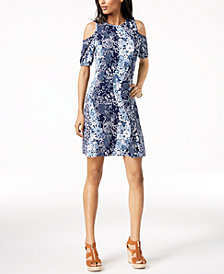 MICHAEL Michael Kors Printed Cold-Shoulder Dress, in Regular & Petite Sizes