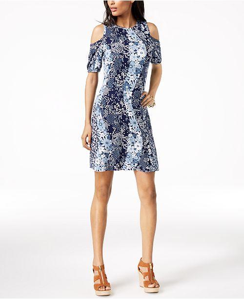 270e20a3722 ... Michael Kors Printed Cold-Shoulder Dress