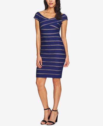 CeCe Jessa Off-The-Shoulder Textured Sheath Dress