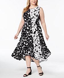 I.N.C. Plus Size Handkerchief-Hem Midi Dress, Created for Macy's