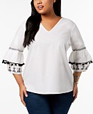 NY Collection Plus Size Cotton Embellished-Sleeve Peasant Blouse
