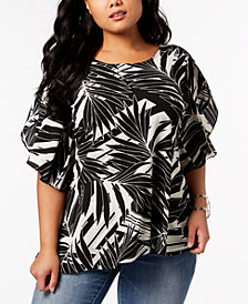 NY Collection Plus Size Printed Flutter-Sleeve Asymmetrical Top