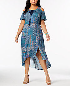 NY Collection Plus & Petite Plus Size Cold-Shoulder Dress