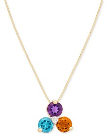 "Multi-Gemstone (3/4 ct. t.w.) & Diamond Accent 18"" Pendant Necklace in 14k Gold"