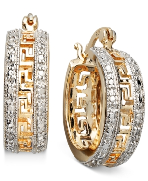 "Victoria Townsend 18k Gold over Sterling Silver Earrings, 1"" Diamond Accent Greek Key Hoop Earrings"