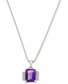 "Amethyst (2-1/3 ct. t.w.) & Diamond (1/10 ct. t.w.) 18"" Pendant Necklace in Sterling Silver"