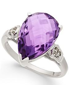 Amethyst (5-3/8 ct. t.w.) & Diamond Accent Teardrop Ring in Sterling Silver